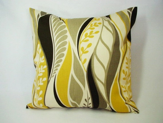 Items similar to Two Decorative Throw Pillow Covers in Yellow Brown and Cream Floral Print - 20 ...