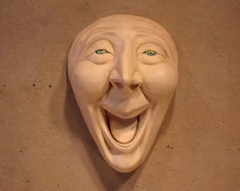 Mask Sculpture Wall Art Paperclay One-of-a-Kind - Delight
