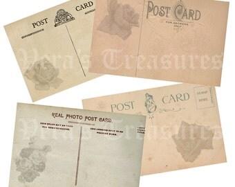 Vintage Style  Blank  Rose Postcards Digital Images for card making or Crafts (pack 1)