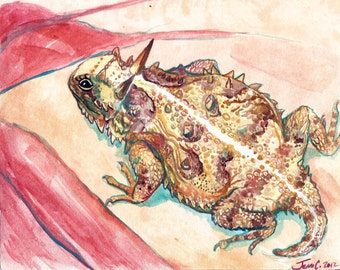 Horned toad lizard watercolor