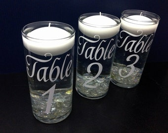 Table Numbers - Wedding Floating Candle Centerpiece