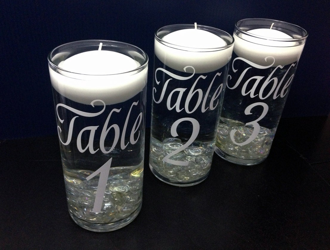 Table Numbers Wedding Floating Candle Centerpiece