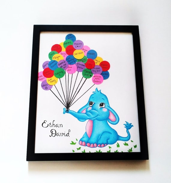 baby shower thumbprint guestbook print elephant with balloons baby