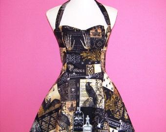 Sew Bewitching... Black Nevermore Steampunk Gothic Lolita Shirred Halter Neck 50s Dress JSK