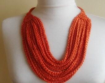 hand crochet orange collar necklace, scarf nr. 74