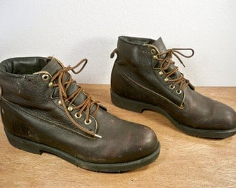 Vintage Lehigh Made in USA Men's Work Motorcycle Industrial Riding Steel Toe Brown Leather Boots Size 8.5 Extra Wide