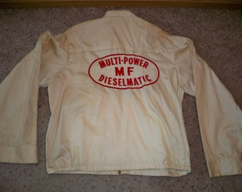 Vintage Massey Ferguson MF Tractor Dieselmatic Multi-Power Cotton Uniform Coat Jacket Size 44 Made in USA