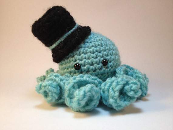Crochet Octopus Hat : Blue Amigurumi Octopus With Hat by AutumnAmethyst on Etsy