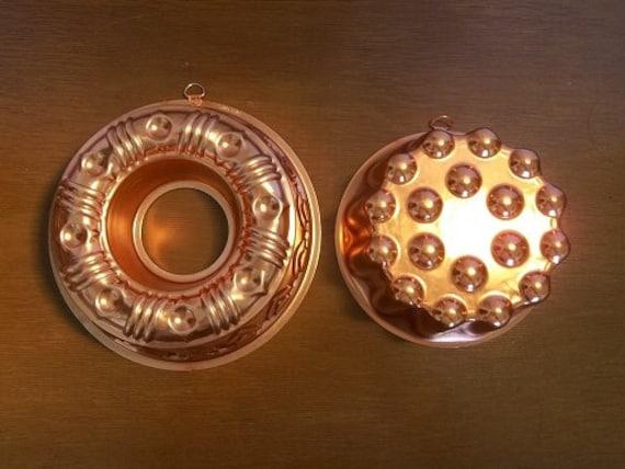 Vintage Large Copper Color Jello Molds Bundt Pan Wall Decor