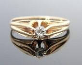 Antique Belcher Ring Victorian Floating Diamond Ring - UN0KT6-D