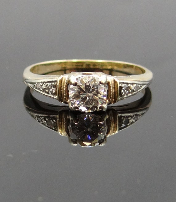 Vintage 1940s Two Tone Gold Diamond Engagement Ring Rgdi218p