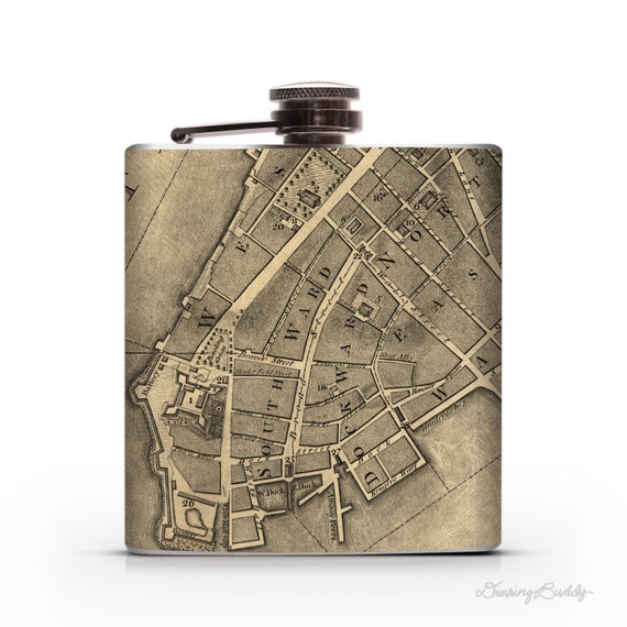 City of New York Map 1767 - 6oz Whiskey Hip Flask
