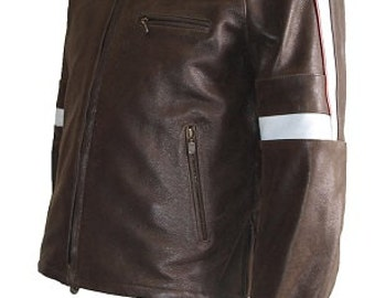 Hero Jacket in Real Calf Distressed Leather with dirty white stripes