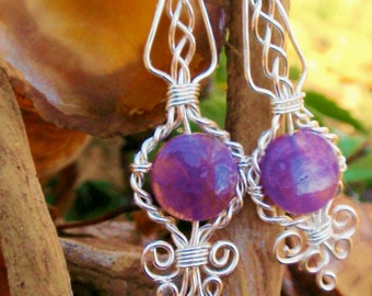 Amethyst silver wire wrapped earrings. Wire wrapped jewelry handmade.