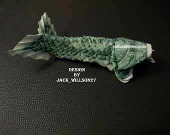 A Beautiful Handcrafted Money Origami KOI FISH W/ Whiskers-Great Gift Idea-Made Of Real one Dollar Bill