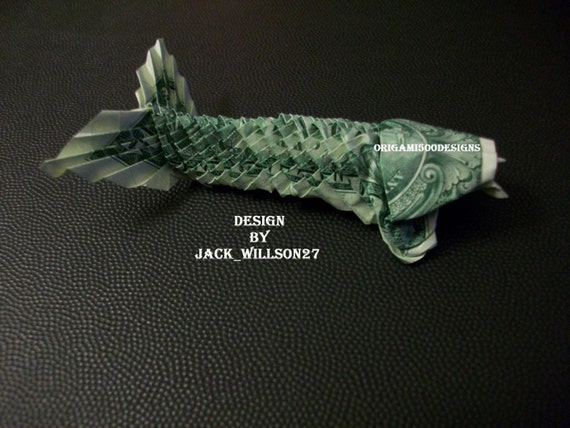 A beautiful handcrafted money origami koi fish w for Origami koi fish