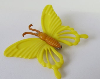Vintage Plastic, Yellow, Butterfly Brooch