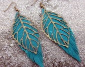 Leather Earrings, Long, Turquoise Green Leaf Earring, Jewelry, Bronze Feather, Bronze Leaf, Charm, Bohemian, Hippie, Hipster