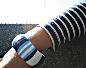 SALE *Handpainted Wooden Bangle in a Nautical-inspired Design