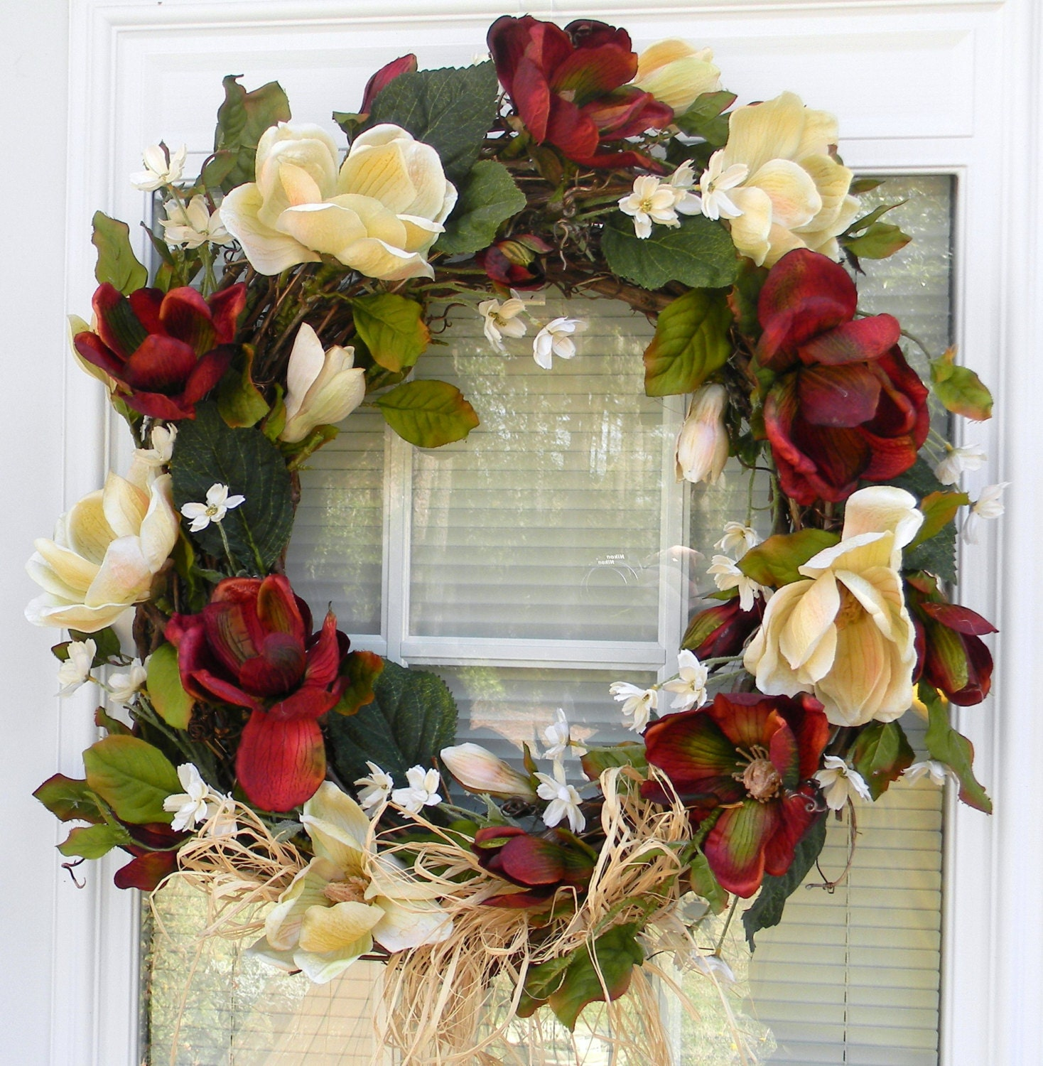 Reduced Christmas Decorations: Reduced Floral Wreath Magnolia Wreath Door Wreath Silk