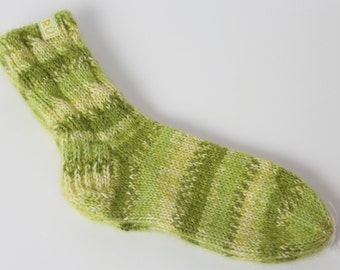 Ready to ship Teens socks, soft, hand knitted green socks with silk. Sizes ready to ship 30/31, 32/33, 34/35