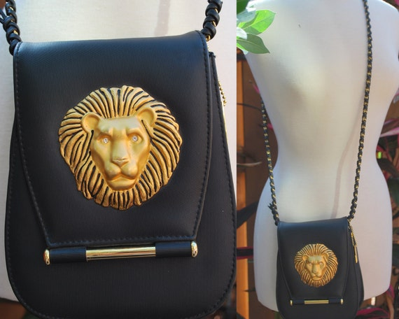 Vintage Black Gold Lion Face Purse Handbag 80s Nima