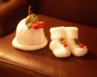Whiite cap and bootee set with cherries