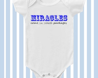 Miracles Come in Small Packages Baby Boy Bodysuit in Blue by SimplyBaby
