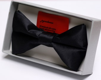 Black Silk Bow Tie with Gift Box