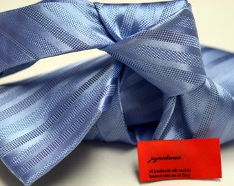 SKINNY or Regular Silk Tie (3.5 inch) in Stripes with Blue on Blue