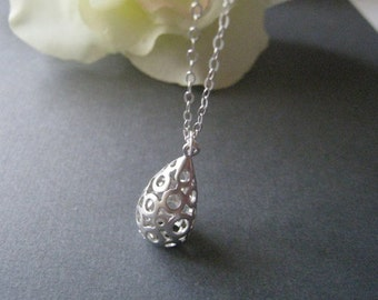 Teardrop Charm Necklace in STERLING SILVER CHAIN--Perfect Gift, gift for mom, Birthday Present for her for friends.