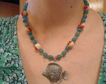 ON SALE: Tropical fish zinc alloy aqua jade and mother of pearl necklace