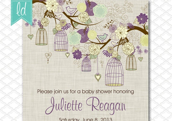 Bird Wedding Invitation: Bird Cage Baby Shower Invitation Linen Wedding Invitation
