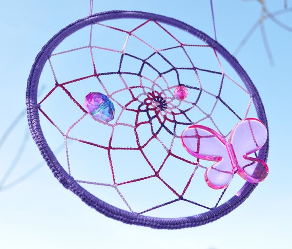 Purple Pink Butterfly Sun Catcher - Dream Catcher - Mandala