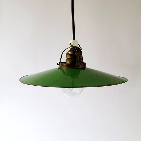 Green Enamel Pendant Light. 30s.