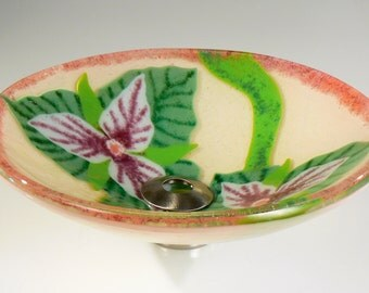 Ivory and Pink Trillium Sink:  ivory with pink and green flowers hand crafted sit-on-top glass sink