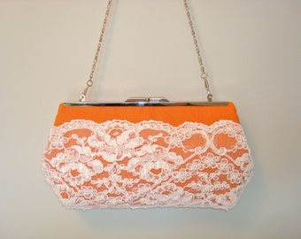 Free US Shipping Wedding Bridal Tangerine Orange Linen,  Silk and Beaded French Alencon Lace Clutch Purse Bag