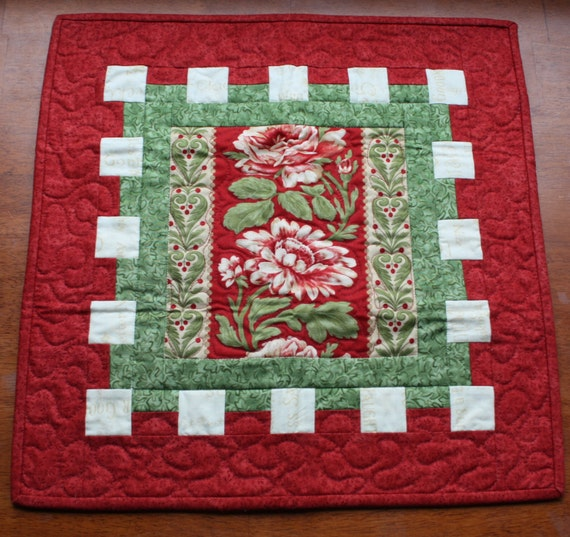 Floral table runner centerpiece candle mat in red green cream