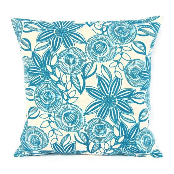 Sale Turquoise Teal Throw Pillow Cover Floral Retro Home Decor