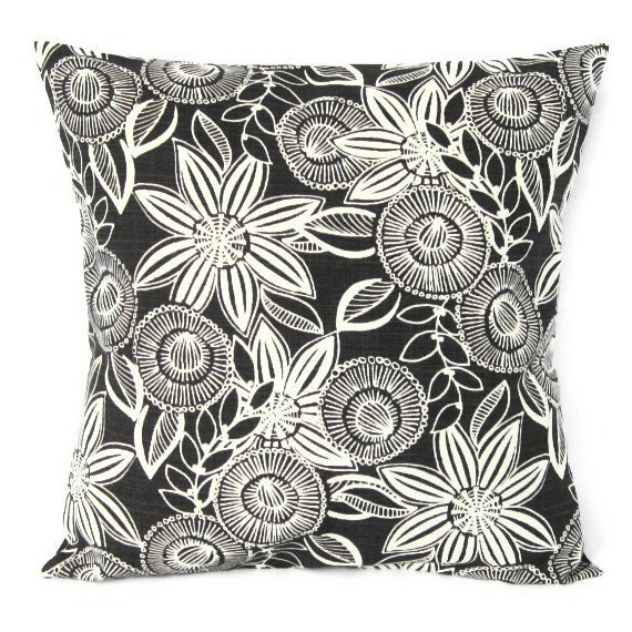 Throw Pillows For Charcoal Sofa : Sale Charcoal Gray Floral Pillow Cover Retro Decorative Throw