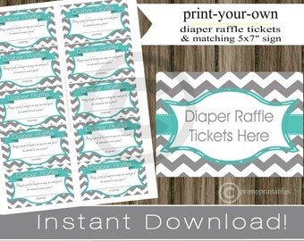 Baby Shower Diaper Raffle Tickets with matching sign teal, gray chevron INSTANT DOWNLOAD diy printable file print your own, baby shower idea