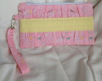 Pink bicycle clutch purse