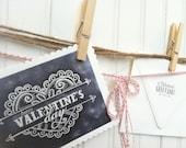 Printable DIY Happy Valentines Day Chalk Valentines Day Card