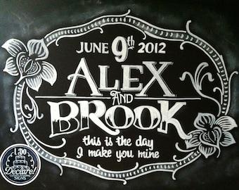 Vintage Style Custom Wedding Chalkboard Art