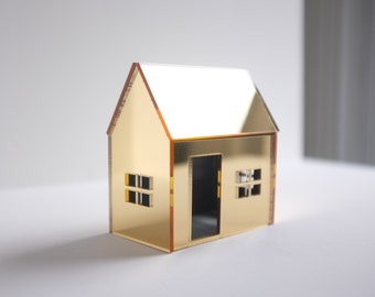 Golden miniature house structure in mirrored acrylic - metallic brass or gold architecture - whimsical decor - gleaming geometric shape