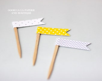 MADE TO ORDER Grey and Yellow Cupcake Flag Picks- Set of 12