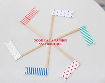 MADE TO ORDER Carnival/Circus Cupcake Flag Picks- Set of 12