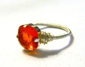 Orange Fire Opal Swarovski Crystal  Ring - Set Crystal - Handmade - Elegant - Slider Bead Jewelry - Gift Under 15, 20, 25