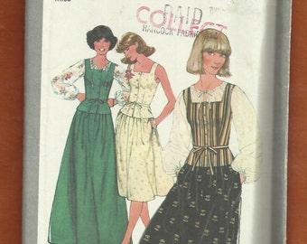 Vintage 1977 Simplicity 8301 Boho Chic Raglan Sleeve Top Square Neckline Vest with Peplum & A-Line Skirt Size 10