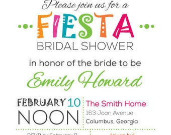 Bridal Shower Fiesta Invitation by 5SmileDesign on Etsy